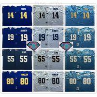 NCAA Vintage Retro # 55 Junior Seu Jersey 14 Dan Fouts 19 Lance Alworth 80 Kellen Winslow Мужской синий белый футбол трикотажные изделия 75-й патч