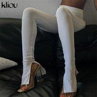 Kliou Casual Casual Sólido Solido Cintura Alta Cintura Moda Leggings Split Sporty Entrenamiento Streetwear Streetwear Activo Use Otoño 2020 Q1123