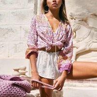 Kadın Bluzlar Gömlek Ayualin Boho Uzun Kollu Gevşek Bluz Gömlek Kadın Rahat Pamuk Pembe Çiçek Pirnted Yaz Kazak Üst Vintage Blu