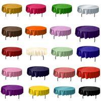 1 unids 145 cm de satén redondo cubierta de mesa de mesa de color de color sólido para cumpleaños de navidad fiesta de bodas decoración de hotel1