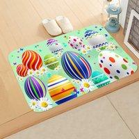 Happy Easter Teppich Kaninchen Ei Druck Flanell Wildleder Badezimmer Fußmatte 40 * 60cm Bunny Badezimmer Rutschfeste Matte Meer Versand YYB4546