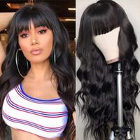 Largo negro suelto ondulado sintético sin encaje pelucas de encaje flequillo limpio limpio peluca resistente al calor reemplazo de pelo de peluca de aspecto natural para mujeres desgaste diario
