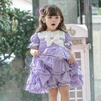 Çocuk Lolita Frocks Mor İspanyol Sarayı Kız Prenses Elbise Çocuklar için Butik Elbiseler Kız Toddler Doğum Günü Vestidos F1217