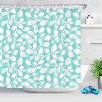 Занавески для душа Простой современный стиль Листья печатания занавес Водонепроницаемый прочный зеленый белый лист ванна ванна ткань для ванной комнаты
