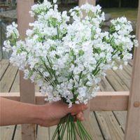 Branco Artificial Wedding Flores Silicone Silicone Gypsophila Decorações Buquês Mulher Marry Casa Festa Decoração Suprimentos Novo 1 97RS G2