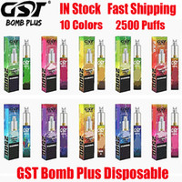 Orijinal GST Bomba Artı Tek Kullanımlık Cihaz Kiti 1200 mAh Pil 7ml Pods 2500 Puffs Petreed Vape Sopa Kalem Bang XXL Canavar 100% Otantik