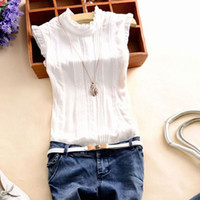 Donne Ruffle Stand Collar Slim T-Shirt Tops Lady Casual Lace Shirt Syless Shirt Ladies Tee Verde / Bianco Chiffon