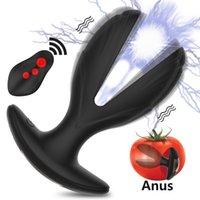Électrique choque Anal Plug Dilvibrateur Ouvrir Butt Beads Toys Sex Toys Femmes Men Gay Prostate Massager Electro Stimulation Anus Dilator 201217