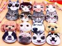 3D chat chien visage peluche monnaie sacoche pochette mignon chiot piquant tête glissière fermeture portefeuille dessin animé sac sac pendentifs charme