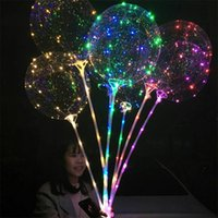 Moda Luminescência LED Lâmpada Balão Multicolour Light 20.5 polegadas Balões de Ar Transparentes 70cm Handle Pole Party Fontes Novo 2 39JX L2
