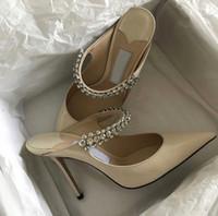 Elegante diseño Bing Baily vestido de novia tacones altos mujeres crystal perla correa bombas de mujer puntua punta sexy dama caminando zapatos EU35-41