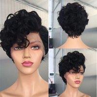 10A Sınıf Pixie Peruk Bakire Brezilyalı İnsan Saç Dantel Kapatma Peruk Doğal Siyah Kısa Bob Dantel Peruk 150% Yoğunluk
