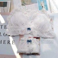 Lolita lingerie costume femme coréenne mignonne culotte étudiant bowknot maille soutien-gorge de soutien-gorge sexy fille push up sous-vêtements set plage usure
