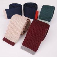 Шея галстуки 5 см плоская голова вязаные для мужских вязание узкие узкие свадьбы красные галстуки тканый дизайнер Cravat