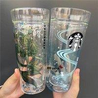580 ملليلتر وصل حديثا Starbucks أكواب Doubel طبقة زجاج ماء حليب قهوة كوب هدية جيدة المنتج للأصدقاء