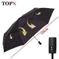 125 cm Grande qualità automatica di qualità doppio strato ombrello da pioggia donne 3fold antivento antivento grande ombrello da esterno uomo donna paraguas parasol 201125