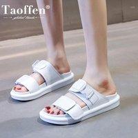 الصنادل Tauffen امرأة جلدية حقيقية مشبك أحذية الصيف الأزياء المعتادة عطلة الأحذية اليومية حجم 35-401