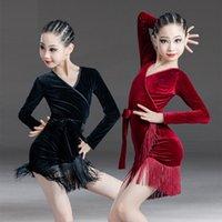 الرقص اللاتيني اللباس للأطفال مثير بلون الشرابة ارتداءها فتاة المرحلة أداء زي الخريف الاطفال ممارسة الملابس