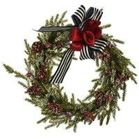 1Pc Christmas Wreath Decorative Garland Door Hanging Wreath Pendant Prop