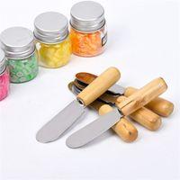 سكين الجبن 10 سنتيمتر الفولاذ المقاوم للصدأ زبدة سكين مع مقبض خشبي الجبن الحلوى صلصة مربى الناشجة ملعقة أداة م حلم B ZEG