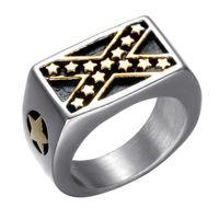 de acero inoxidable del oro federación americana bandera federal de los Estados Unidos Estados Unidos estrella en forma de cruz X se cruzan los anillos confederado joyas para hombres