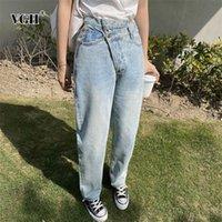 VGH elegante mulheres assimétricas mulheres de comprimento total jeans cintura alta cintura larga perna calças para roupas femininas roupas de verão maré 201225