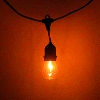 Freie Lieferung S14 24 stücke Glühbirne Outdoor Yard Lampe String Licht mit schwarzer Lampendraht Hohe Helligkeit Licht String