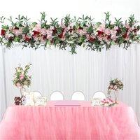 1M свадебного декор роскошная Дорога привела искусственный Flore розой пион гортензии смешайте DIY арочных двери Цветка Его T станции Рождество стену