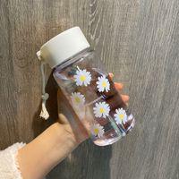 Yeni Küçük Papatya Şeffaf Plastik Su Şişeleri 500 ML Yaratıcı Buzlu Su Şişesi ile Taşınabilir Halat Seyahat Çay Kupası HH9-3680