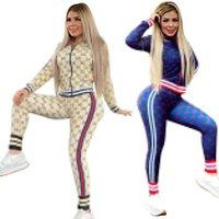 Bayanlar 2 Parça Set Moda Desen Baskılı Uzun Kollu Fermuar Yüksek Boyun Seksi Spor Kadınlar Için İki Parçalı Set
