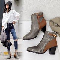 Ins unkle زائد الحجم 22-28 في أوروبا وأمريكا microfibre المرأة عالية الكعب الرجعية أحذية الشتاء YXYT