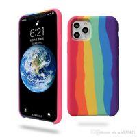 Официальный градиент Rainbow Case для iPhone 11 Pro Max XS MAX XR Силиконовый Жидкий Крышка для iPhone 7 8 6S 6 Plus SE 2020 с розничной коробкой