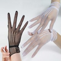 Cinco dedos luvas 1 par fishnet malha luva moda mulheres senhora protetor de menina laço elegante estilo preto1