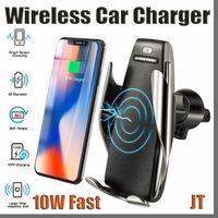 JTD S5 Otomatik Sıkma 10 W Qi Kablosuz Araç Şarj 360 Derece Rotasyon Havalandırma Dağı Telefon Tutucu iPhone Android Evrensel Telefonlar için