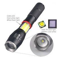 Torce Torce Torce GM Potente da 10 W 5-Modalità Bianco Red Light T6 Cob LED Impermeabile Zoom 18650 Torcia con magnete Bottom1