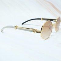Classic Shades Carter Hombres Blanco Cuerno Oval Gafas de sol Fuego Lujo 7550178 Gafas redonda KMY8 BUFFALO KCNUJ
