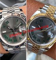Orologi da uomo 126333 126334 126301 Wimbledon Grigio Grigio Dial Romano Fluded Gettone Giubileo Data Gold Acciaio Braccialetto Automatico Sport Orologio da polso Sport