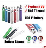 UGO V 650 900MAH Variable Spannungsbatterie Ego Evod Micro USB-Durchgang durch untere Ladung 510 Thread VAPE PREHEAT VV-Batterie