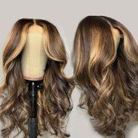 Pelucas de pelo humano del frente de encaje de onda natural Preparado Ombre Honey Blonde Brown Highlights WIG Malasia Remy 5 * 5 Pelucas de encaje superior de seda
