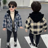 Baby Boys Winter Coat Comprobar paño de lana Tronco engrosado 2-11 años Otoño Otoño e invierno Falso Falso Dos con capucha Ropa de invierno Y1208