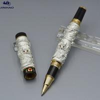 Высокое качество Jinhao Pen Silver и Golden Dragon Form Рельефы роликовые шариковые ручки Канцтовары офисные школьные принадлежности, написание плавных вариантов ручки