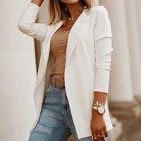 Fatos femininos blazers 2021 outono escritório senhoras casuais manga longa sólida trabalho formal terno moda mulheres jaquetas slim