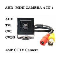 Cámaras AHD Mini Cámara HD 4MP CCTV AHD / TVI / CVI / CVBS 4 en 1 Video de vigilancia de la lente en el orificio de seguridad