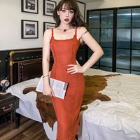 2021 새로운 호박 컬러 Baffi Burrs 얇은 높이에서 얇은 스파게티 스퀘어 넥 섹시한 하이 스트리트 드레스 79Oi의 긴 무릎 거들