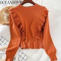 Pulls pour femmes OceanLove Solid Simple Coréen Femmes Volants Casual Vêtements d'hiver Pullovers 2021 Fashion Suter Mujer Tous match 134571