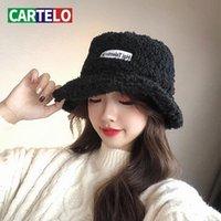Geniş Brim Şapka Kartelo Kış Balıkçı Şapka Katlanabilir Kova Kadın Marka Tasarım Yüksek Kaliteli Bayanlar Kalın ve Sıcak