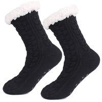 3D Streifen Winter Lange Bulk Slipper Socken Frauen Antislipper Warme Fleece Knöchel gezeichnet Rutschfeste Chunky Weihnachten Kaschmir