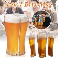 Super Schooner Verres de bière Tasse Coupe 4 en 1 Tasse de bière séparable facile à transporter 4 verres à vin pour garçons à la maison à la maison CCA12657 Livraison Mer