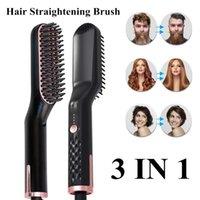 Escovas de cabelo elétrico ferner escova ptc alisador de aquecimento pente homens barba suave forma anti estática fofa reta