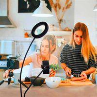 Diseño más nuevo 6 pulgadas LIVE LIVE LIVE DE LIVE DE ESCRUPARIO LIGHT CUERTE USB USB Dimmable Selfie Anillo Vanidad con el titular del teléfono